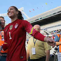 ORLANDO, FL - OCTOBER 25: Goalkeeper Hope Solo #1 of USWNT walks off the field after a women's international friendly soccer match between Brazil and the United States at the Orlando Citrus Bowl on October 25, 2015 in Orlando, Florida. The United States won the match 3-1. (Photo by Alex Menendez/Getty Images) *** Local Caption *** Hope Solo