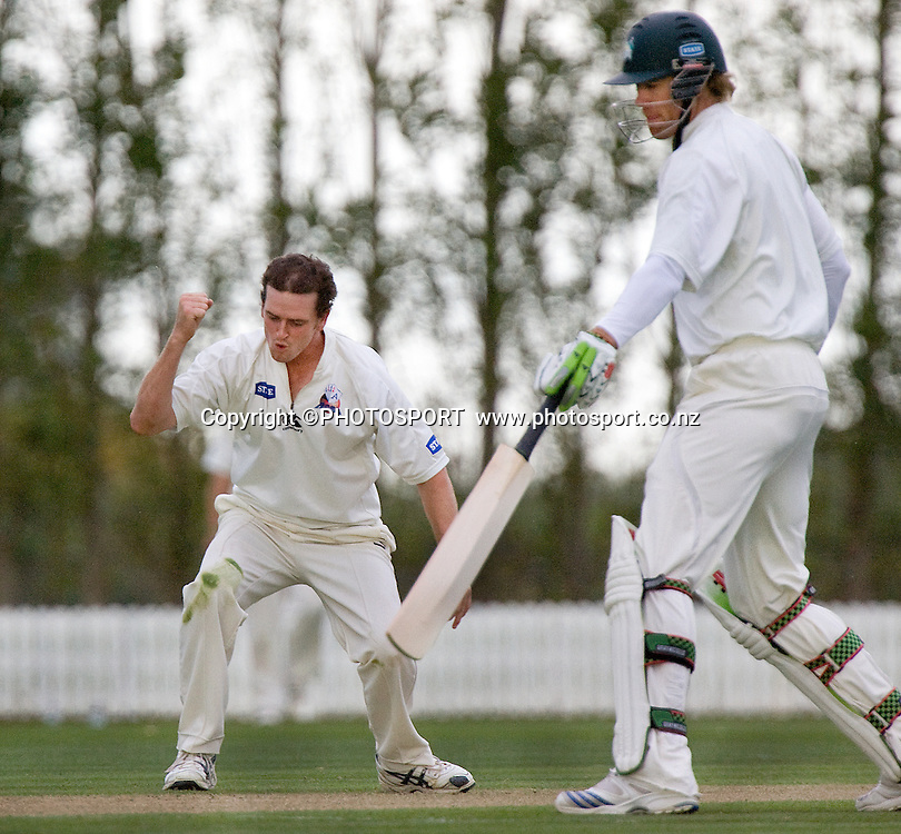 Lance Shaw celebrates a wicket as Jacob Oram remains not out.State Championship Final, Auckland v Central, Day 1, Bert Sutcliffe Oval, Lincoln, Monday 06 April 2009. Photo: Joseph Johnson/PHOTOSPORT