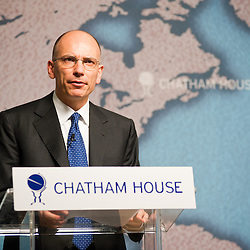 London, UK - 16 July 2013: Italian Prime Minister Enrico Letta speaks at Chatham House during a meeting on the role of Italy and the UK in an evolving EU.