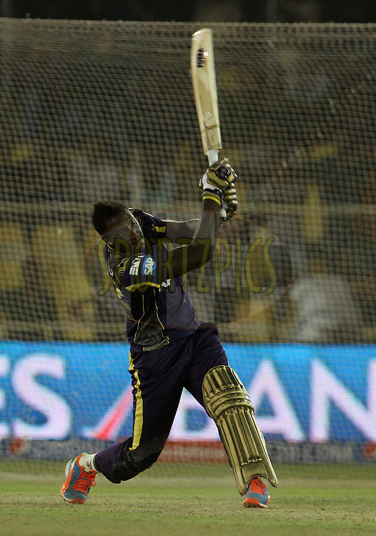 Andre Russell of the Kolkata Knight Riders plays a shot during the Yes Bank maximum sixes after the match 25 of the Pepsi Indian Premier League Season 2014 between the Rajasthan Royals and the Kolkata Knight Riders held at the Sardar Patel Stadium, Ahmedabad, India on the 5th May  2014<br /> <br /> Photo by Vipin Pawar / IPL / SPORTZPICS      <br /> <br /> <br /> <br /> Image use subject to terms and conditions which can be found here:  http://sportzpics.photoshelter.com/gallery/Pepsi-IPL-Image-terms-and-conditions/G00004VW1IVJ.gB0/C0000TScjhBM6ikg