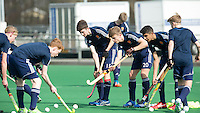 ROTTERDAM -  Warming Up England.  Practice Match  Hockey : Netherlands Boys U16  v England U16 . COPYRIGHT KOEN SUYK