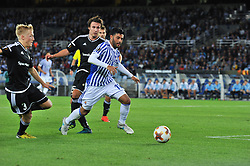September 14, 2017 - San Sebastian, Gipuzkoa - Basque Country, Spain - Carlos Vela of Real Sociedad duels for the ball with Anders Trondsen and Birger Meling of Rosenborg BK during the UEFA Europa League Group L football match between Real Sociedad and Rosenborg BK at the Anoeta Stadium, on 14 september 2017 in San Sebastian, Spain  (Credit Image: © Jose Ignacio Unanue/NurPhoto via ZUMA Press)