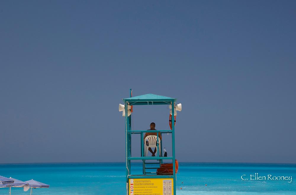 A lifeguard chair on Myrtos Beach, Kefalonia, The Ionian Islands, Greece