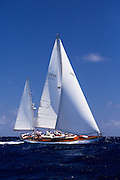 Saphaedra sailing in the Antigua Classic Yacht Regatta, Windward Race.