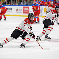 WHITBY, - Dec 14, 2015 -  Game #4 - Russia vs. Canada East at the 2015 World Junior A Challenge at the Iroquois Park Recreation Complex, ON. Owen Grant #2 of Team Canada East skates with the puck during the first period.<br /> (Photo: Shawn Muir / OJHL Images)