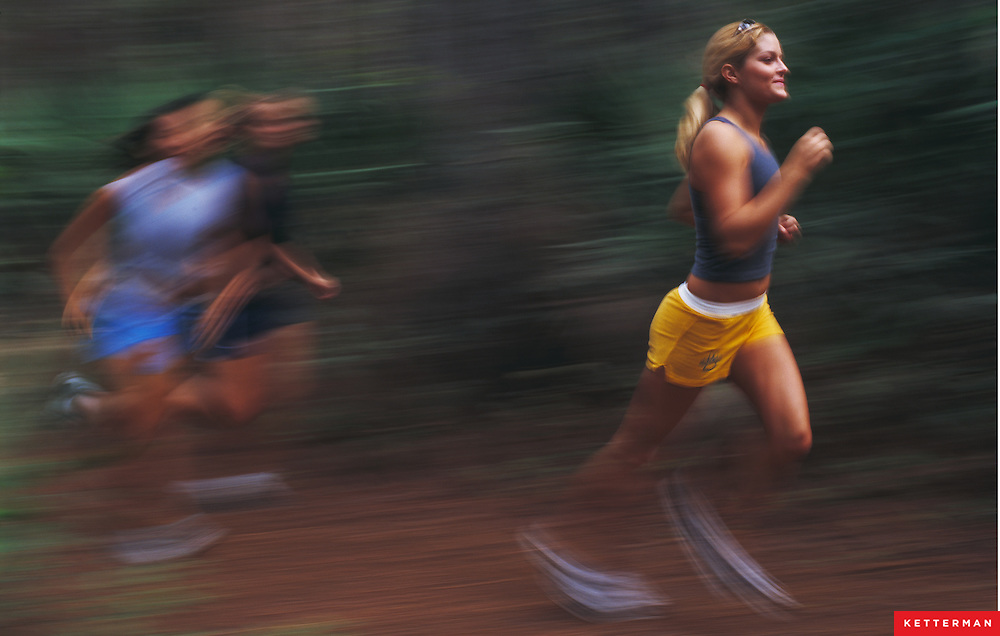 College girls get great exercise by running on these trails in Florida.
