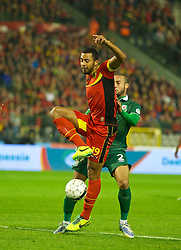 BRUSSELS, BELGIUM - Tuesday, October 15, 2013: Wales' Ashley 'Jazz' Richards in action against Belgium's Timmy Simons during the 2014 FIFA World Cup Brazil Qualifying Group A match at the Koning Boudewijnstadion. (Pic by David Rawcliffe/Propaganda)