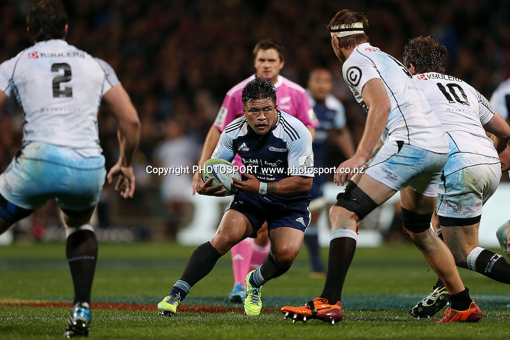 Keven Mealamu of the Blues in action. Super Rugby rugby union match, Blues v Sharks at North Harbour Stadium, Auckland, New Zealand. Friday 23rd May 2014. Photo: Anthony Au-Yeung / photosport.co.nz