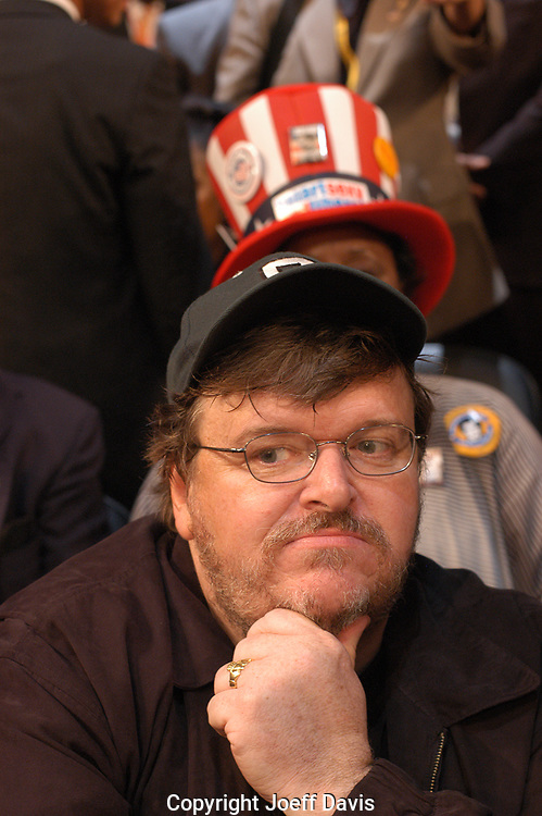 BOSTON, MA - JULY 26: Filmmaker Michael Moore inside the Fleet Center during opening day of the Democratic National Convention.