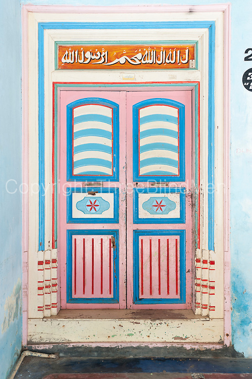 Thittacheri. Front door to a home in Thittacheri. A small town near Nagore in the East Coast of Southern india.