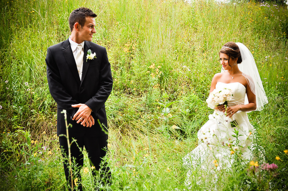 Michelle & Alan in the prairie grass outside Holy Spirit Catholic Community Church, Naperville, IL