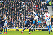Brighton and Hove Albion defender Shane Duffy (4) heads at goal during the The FA Cup 5th round match between Brighton and Hove Albion and Derby County at the American Express Community Stadium, Brighton and Hove, England on 16 February 2019.