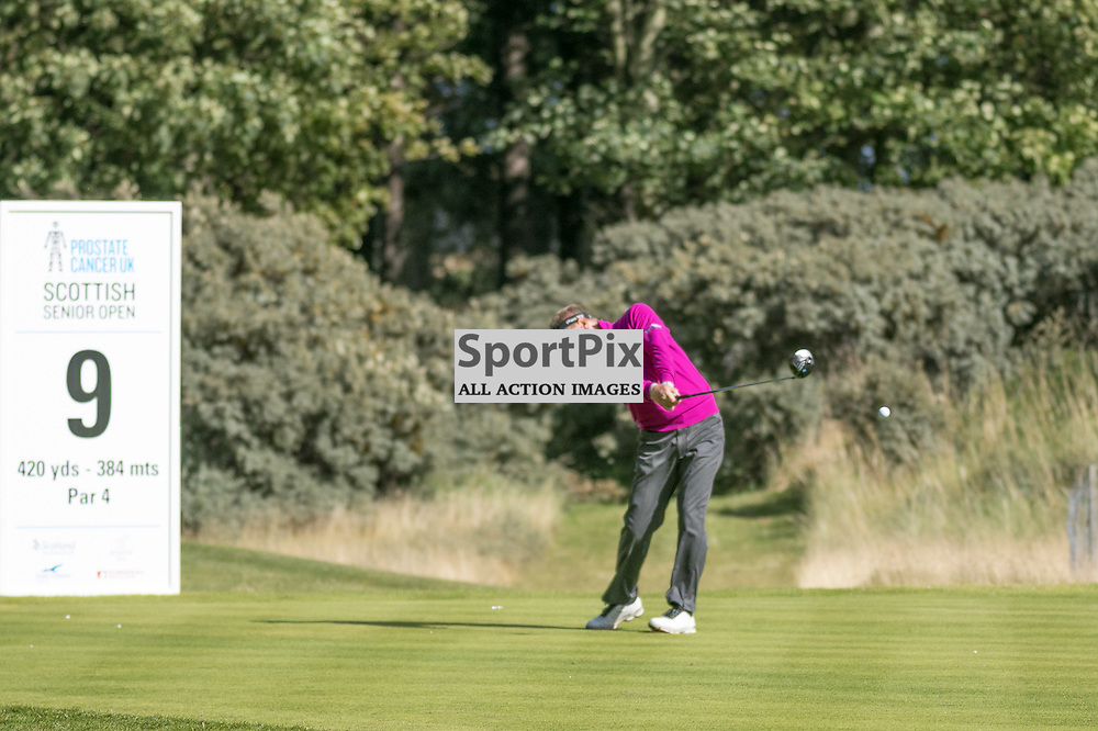 Paul Broadhurst (England) hits his drive on the 9th hole (his 18th). Prostate Cancer UK Scottish Senior Open, 28th August 2015