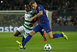 December 5, 2017 - Barcelona, Catalonia, Spain - Gelson Martins and Lucas Digne during the UEFA Champions League match between FC Barcelona v Sporting CP, in Barcelona, on December 05, 2017. (Credit Image: © Joan Valls/NurPhoto via ZUMA Press)