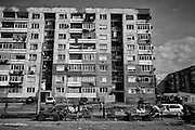 An apartment house in the Roma ghetto of Stolipinovo in Plovdiv, Bulgaria.