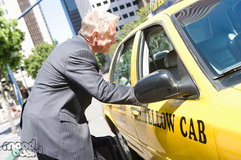 Businessman talking to taxi driver