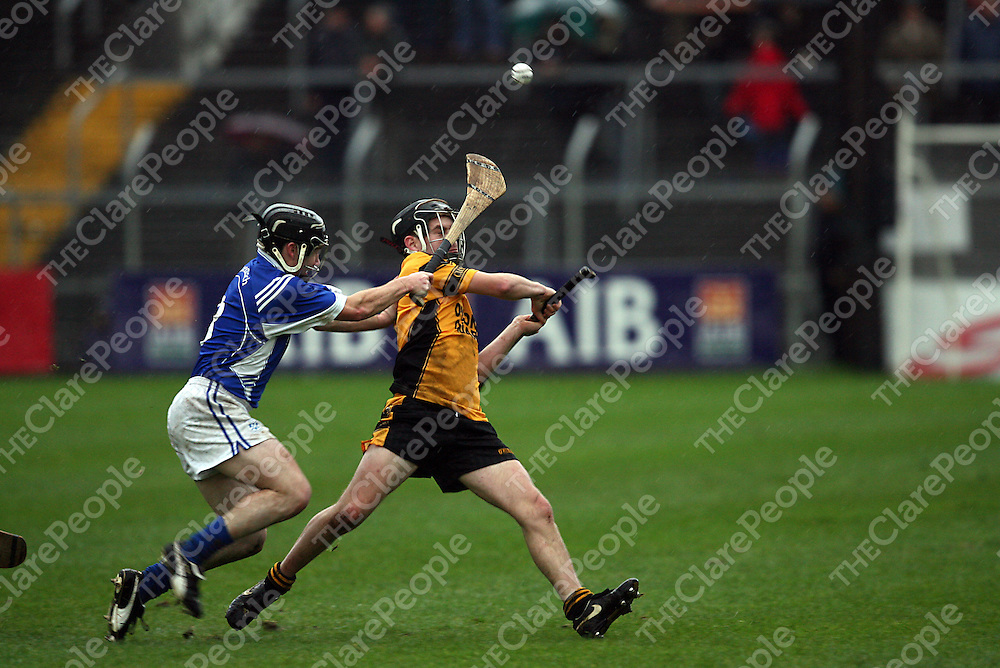 Clonlara's Tommy Lynch tries to get the ball away from Cratloe's Martin Oige Murphy during the senior county hurling final in Cusack Park on Sunday afternoon.<br /> Photograph by Yvonne Vaughan