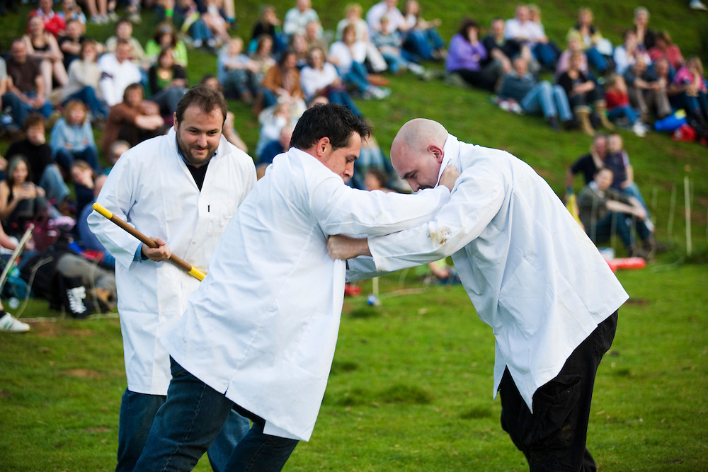 Shin kicking at the Cotswold Olympicks, a medieval custom and sporting event, Dovers Hill, Gloucestershire, UK