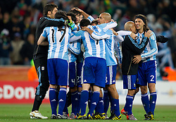 Players of Argentina celebrate after the 2010 FIFA World Cup South Africa Round of Sixteen match between Argentina and Mexico at Soccer City Stadium on June 27, 2010 in Johannesburg, South Africa. Argentina defeated Mexico 3-1 and qualified for quarterfinals. (Photo by Vid Ponikvar / Sportida)
