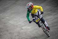 #128 during practice at the 2018 UCI BMX World Championships in Baku, Azerbaijan.