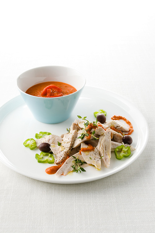 turkey and olives with red pepper sauce