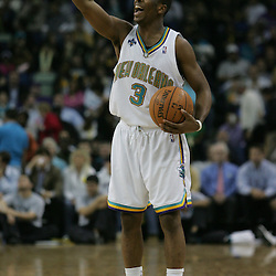 Chris Paul calls out a play to teammates against the Houston Rockets  in the third quarter of their NBA game on March 19, 2008 at the New Orleans Arena in New Orleans, Louisiana. The New Orleans Hornets defeated the Western Conference rival Houston Rockets 90-69.