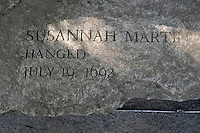 The name of  Susannah Martin, who was accused of being a witch is carved in stone, Salem Massachusetts, New England, North America, USA