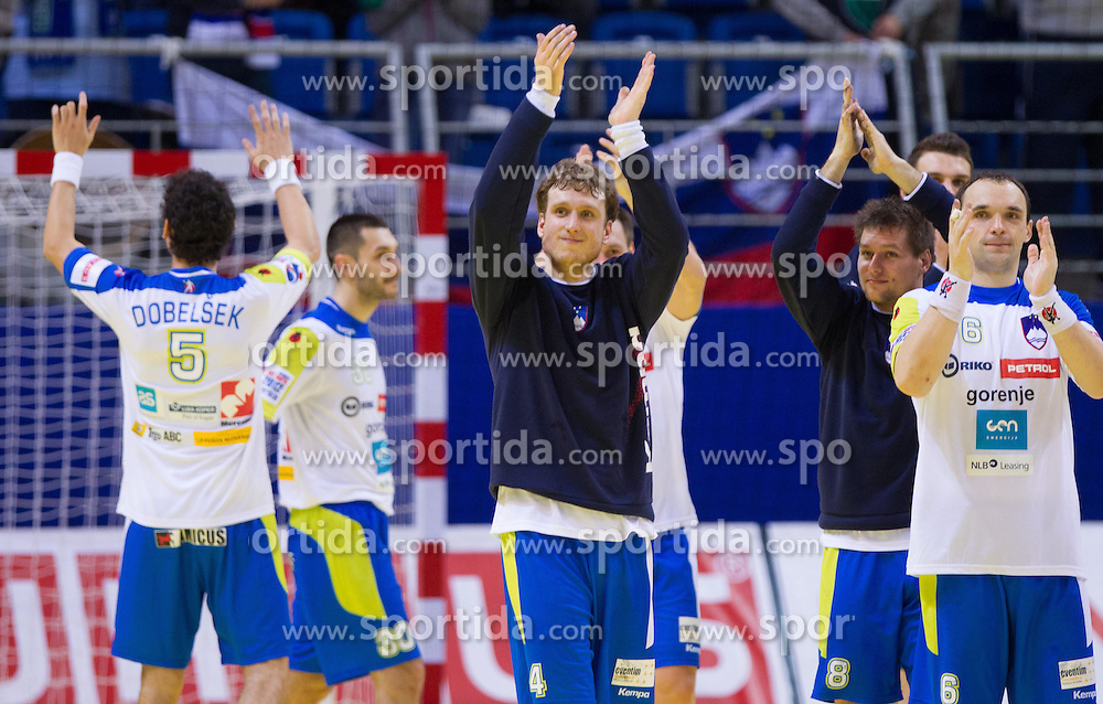 David Miklavcic of Slovenia, Marko Bezjak of Slovenia and Peter Pucelj of Slovenia after the handball match between Slovenia and Croatia in  2nd Round of Preliminary Round of 10th EHF European Handball Championship Serbia 2012, on January 18, 2012 in Millennium Center, Vrsac, Serbia. Croatia defeated Slovenia 31-29. (Photo By Vid Ponikvar / Sportida.com)