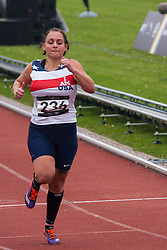 Lee Valley Athletic Centre, London, September 11th 2014. Melissa Coduti wins the Women's Ambulant IT 3 Final as wounded servicemen and women from 13 countries gather at London's Lee Valley Athletics Centre for the Invictus Games Track and Field competition.