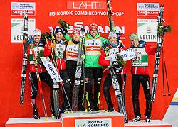 20.02.2016, Salpausselkae Stadion, Lahti, FIN, FIS Weltcup Nordische Kombination, Lahti, Team Sprint, Siegerehrung, im Bild v.l.: Lukas Klapfer, Bernhard Gruber (AUT), Fabian Riessle, Johannes Rydzek (GER), Philipp Orter, Franz-Josef Rehrl (AUT) // f.l.: Lukas Klapfer, Bernhard Gruber of Austria, Fabian Riessle, Johannes Rydzek of Germany, Philipp Orter, Franz-Josef Rehrl of Austria celebrate during Winner Award Ceremony Team Sprint Race of FIS Nordic Combined World Cup, Lahti Ski Games at the Salpausselkae Stadium in Lahti, Finland on 2016/02/20. EXPA Pictures © 2016, PhotoCredit: EXPA/ JFK