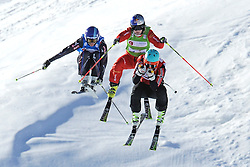 07.03.2014, Carmenna Extrempark, Arosa, SUI, FIS Weltcup Ski Cross, Arosa, im Bild Ophelie David (FRA) Fanny Smith (SUI) Marte Hoeie Gjefsen (NOR) beim Zielsprung // during the FIS Ski Cross World Cup Carmenna Extrempark in Arosa, Switzerland on 2014/03/07. EXPA Pictures © 2014, PhotoCredit: EXPA/ Freshfocus/ Claudia Minder<br /> <br /> *****ATTENTION - for AUT, SLO, CRO, SRB, BIH, MAZ only*****