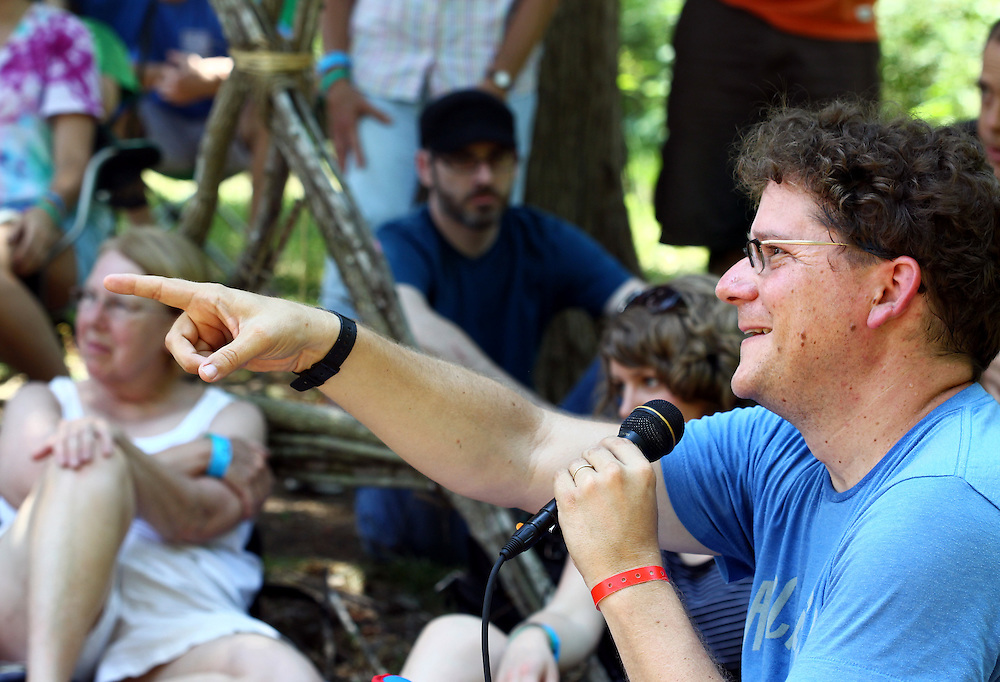 David Dark speaks to a group in the geodesic dome at the Wild Goose Festival at Shakori Hills in North Carolina June 24, 2011.  (Photo by Courtney Perry)