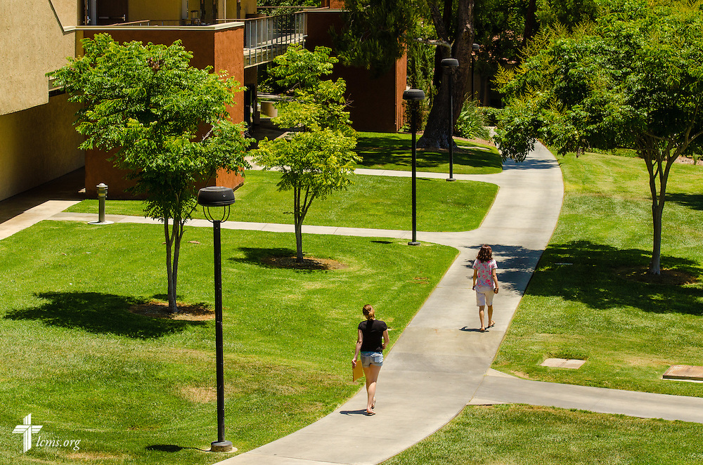 Students walk on the campus of Concordia University Irvine on Wednesday, July 9, 2014, in Irvine, Calif. LCMS Communications/Erik M. Lunsford