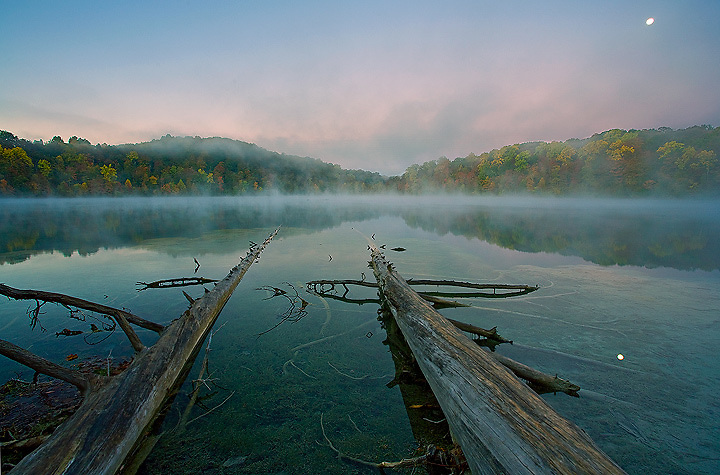 Autumn Foliage Reflections with Fog and Moon at Green Lakes State Park, Syracuse, New York, USA