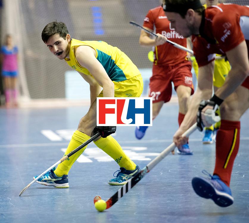 BERLIN - Indoor Hockey World Cup<br /> Quarterfinal 4: Australia - Belgium<br /> foto: James Knee.<br /> WORLDSPORTPICS COPYRIGHT FRANK UIJLENBROEK