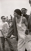 Woman in durag at the first outdoor rave up North, The Gio Goi Joy Rave run by Anthony and Chris Donnelly, Ashworth Valley, Rochdale, 5th August 1989.