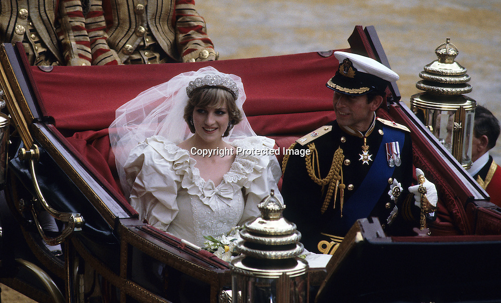 A 1981 photo of Princess Diana and Prince Charles' wedding day.  London, ENGLAND - 1981.