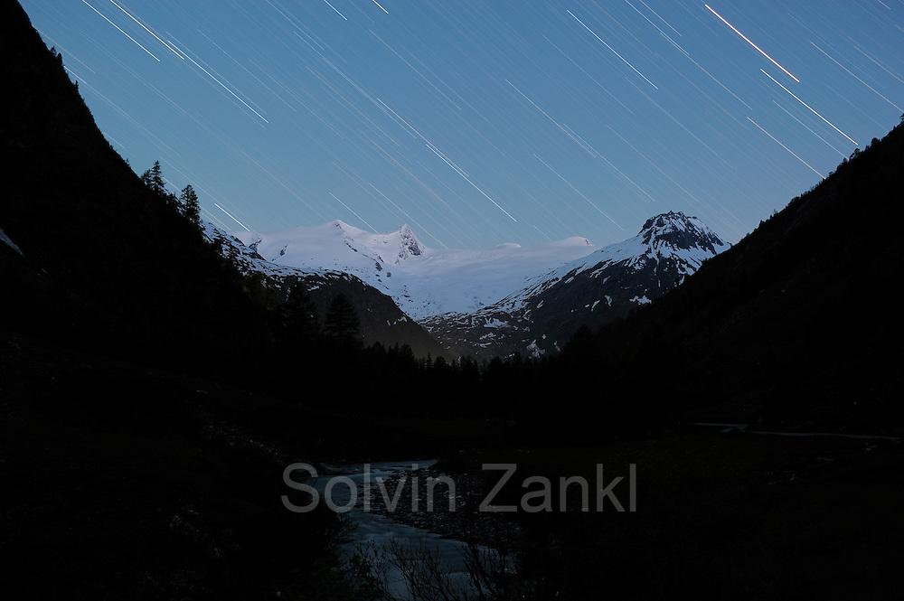 Gletscher am Großvenediger vom Innergschlößtal, Nationalpark Hohe Tauern, Osttirol in Österreich