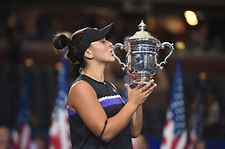 Bianca Vanessa Andreescu holds the US Open trophy after winning the women's final at the 2019 US Open at Billie Jean National Tennis Center in New York City, NY USA, on September, 7, 2019. Andreescu defeats Williams 6-3, 7-5 to win her first US Open and Grand Slam title. Photo by Corinne Dubreuil/ABACAPRESS.COM