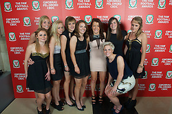 CARDIFF, WALES - Monday, October 8, 2012: Wales' Sarah Wiltshire, Sophie Ingle, Nadia Lawrence, Rhian Knokes, Loren Dykes, Angharad James, Helen Lander, Josie Green, Jessica Fishlock during the FAW Player of the Year Awards Dinner at the National Museum Cardiff. (Pic by David Rawcliffe/Propaganda)