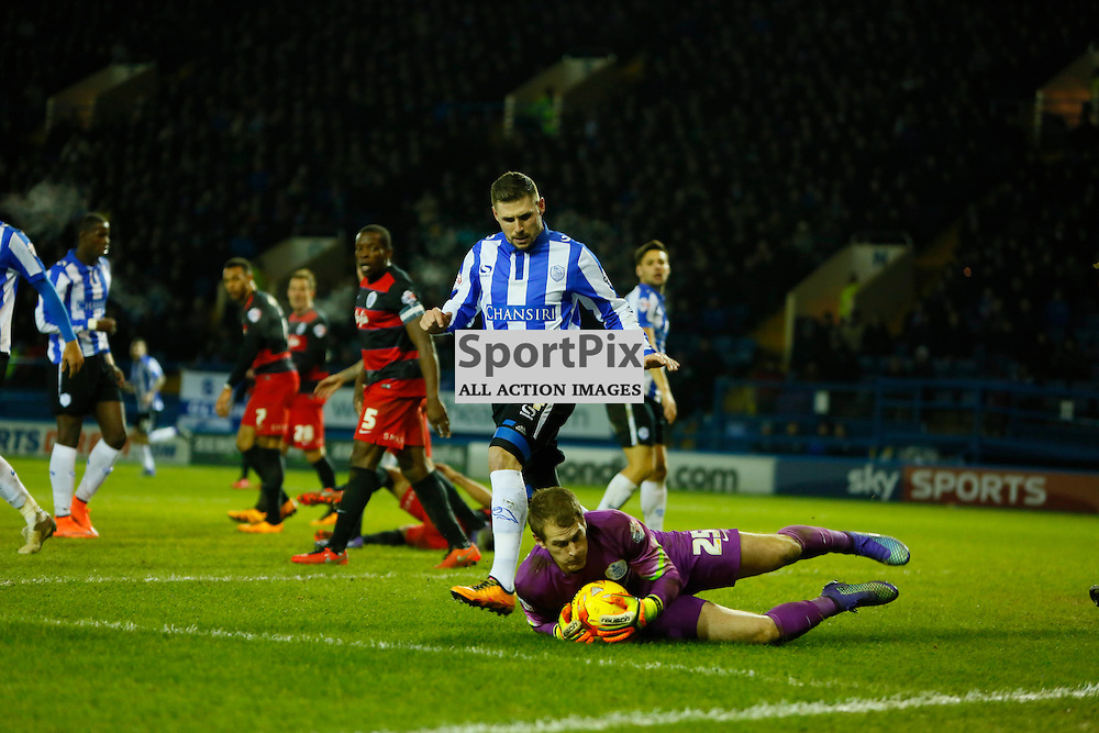 Alex Smithies keeps Gary Hooper at bay during Sheffield Wednesday v QPR, SkyBet Championship, Tuesday 23rd February 2016, Hilsborough, Sheffield