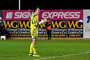 Goalkeeper James McKeown (1) of Grimsby Town celebrates the 2-1 win over Exeter City at full time during the EFL Sky Bet League 2 match between Exeter City and Grimsby Town FC at St James' Park, Exeter, England on 29 December 2018.