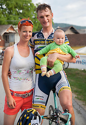 Grega Bole with his wife and daughter Lia during Slovenian Road Cyling Championship 2013 on June 23, 2013 in Gabrje, Slovenia. (Photo by Vid Ponikvar / Sportida.com)