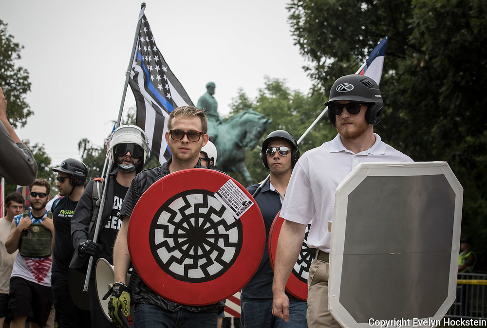 CHARLOTTESVILLE,VA-AUG12: White supremacist groups rally in Emancipation Park during the Unite the Right Rally, August 12, 2017. (Photo by Evelyn Hockstein/For The Washington Post)