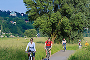 Radfahrer, Fahrradweg an der Elbe, Loschwitz, Dresden, Sachsen, Deutschland.|.cyclists, bike path near river Elbe, Loschwitz, Dresden, Germany