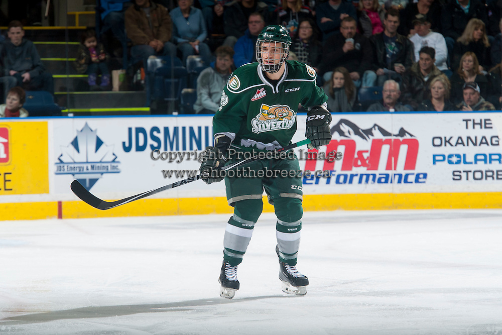 KELOWNA, CANADA - JANUARY 23: Graham Millar #22 of Everett Silvertips skates against the Kelowna Rockets on January 23, 2015 at Prospera Place in Kelowna, British Columbia, Canada.  (Photo by Marissa Baecker/Shoot the Breeze)  *** Local Caption *** Graham Millar;