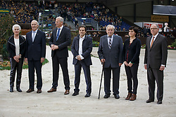 Prizegiving WBSFH , Maartje and Joop Hanse, breeders Valero, Siem Korver, president KWPN, Luck Oliver, breeder Horsewear Hale Bob, Taets Wille and his daughter, breeder Hello Sanctos, Dr Marc Pierson, President SBSWBSFH Prizegiving<br /> Genève 2015<br /> © Hippo Foto - Dirk Caremans<br /> 12/12/15