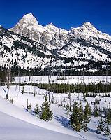 Taggart Creek and the Teton Range in winter, Grand Teton National Park Wyoming USA