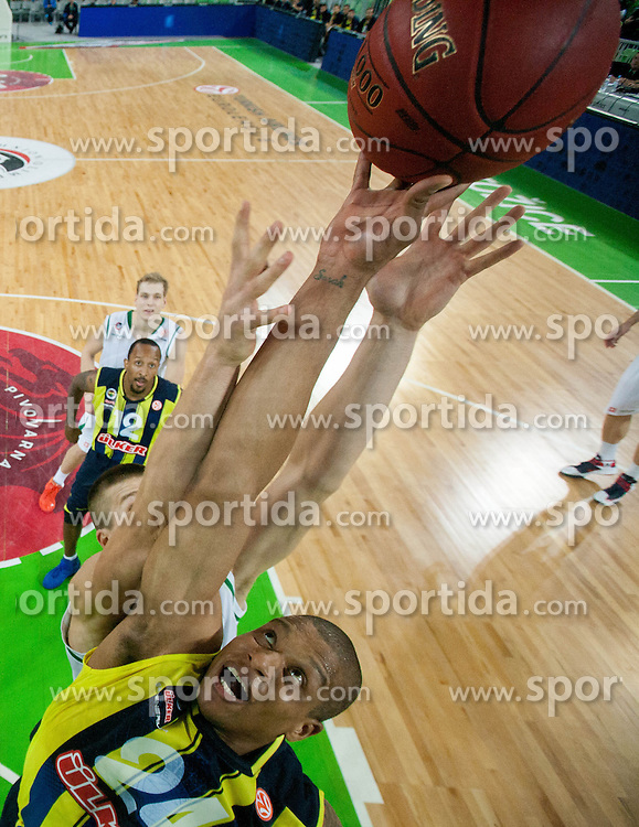 Mike Batiste of Fenerbahce Ulker vs Dino Muric of Union Olimpija during basketball match between KK Union Olimpija and Fenerbahce Ulker Istanbul (TUR)  in 2nd Round of Regular season of Euroleague 2012/13 on October 19, 2012 in Arena Stozice, Ljubljana, Slovenia. Fenerbahce Ulker defeated Union Olimpija 81-75. (Photo By Vid Ponikvar / Sportida)