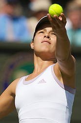 LONDON, ENGLAND - Monday, June 23, 2008: Ana Ivanovic (SRB) in action during her first round match on day one of the Wimbledon Lawn Tennis Championships at the All England Lawn Tennis and Croquet Club. (Photo by David Rawcliffe/Propaganda)